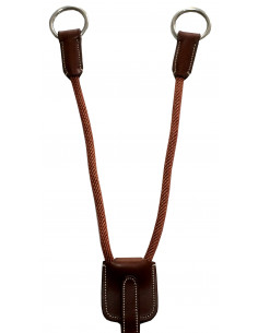 Fourche de martingale Silver Crown cuir/corde cognac