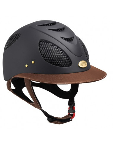Casque GPA First Lady Leather 2X noir visière noir chesnut