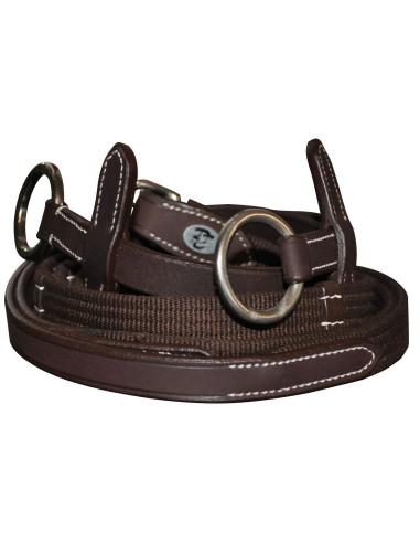 Rênes Privilège Equitation tissu à anneaux