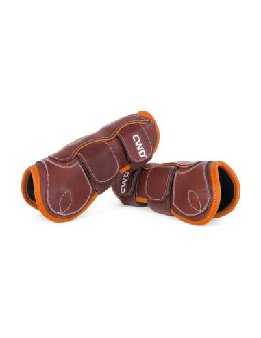 Protège-tendons CWD Mademoiselle velcro veau châtaigne/orange