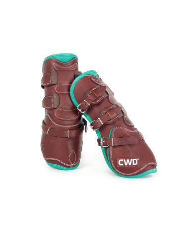 Protège-tendons CWD Mademoiselle boucles veau châtaigne/émeraude